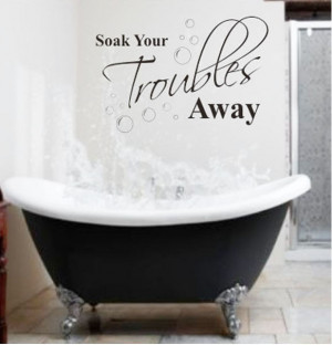 ... Troubles Away Bathroom Wall Quote Decals Decor Vinyl Art Sticker New