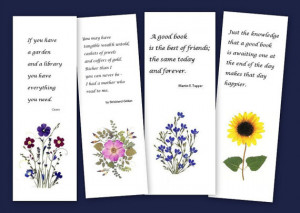 Set of 4 pressed flower bookmarks - Quotes for readers and book lovers