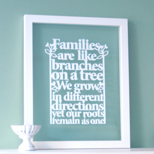 Family Tree Quote – our newest papercut design
