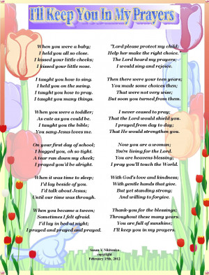ll Keep You In My Prayer - Poem Poster