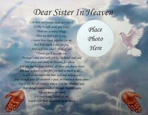 happy birthday poems for a sister. DEAR SISTER IN HEAVEN MEMORIAL