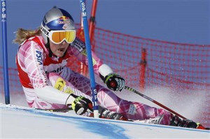 Lindsey Vonn of the U.S. skis on her way to clock the fastest time and ...