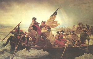 Emanuel Leutze's stylized depiction of Washington Crossing the ...