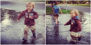 little toddler boy running through puddle instagram