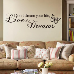 Word-Live-Your-Dream-Butterfly-Quote-Room-Decor-Art-Removable-Decal ...