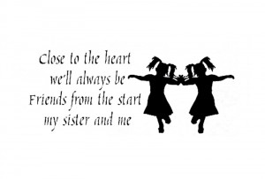... Decal Quote Vinyl Twins Sisters Cute Silhouette Wall Quote Decor Decal