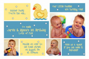 1st Birthday Invitation for Twins Jarvis & Alyssa ~ Rubber Duck Photo ...