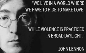 Motivational Wallpaper With Quote by John Lennon: We live in a World ...