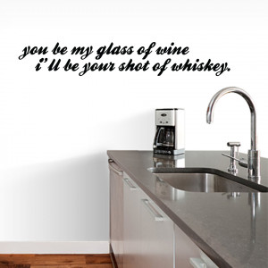 Glass Of Wine Shot Of Whiskey - Wall Decals