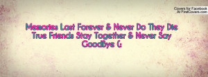 Memories Last Forever & Never Do They Die True Friends Stay Together ...