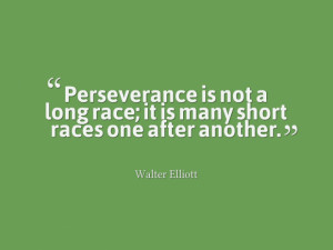 Perseverance is not a long race; it is many short races one after ...