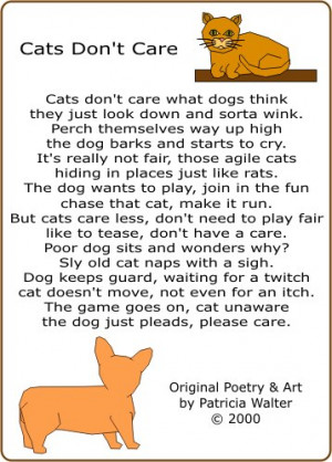 Cats Don't Care - original cat poetry & art by Patricia Walter