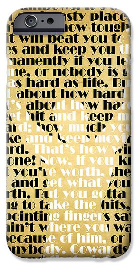 Rocky Balboa iPhone Cases - Rocky Balboa Quote Poster iPhone Case by ...