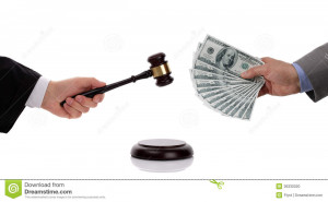 Judge hitting gavel and businessman giving one hundred dollar bills ...