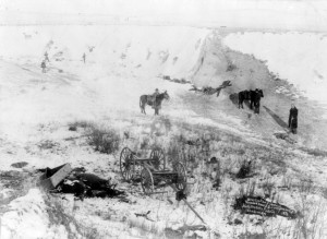 View of canyon at Wounded Knee, dead horses and Lakota bodies are ...