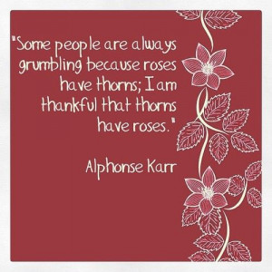 ... because roses have thorns; I am thankful that thorns have roses