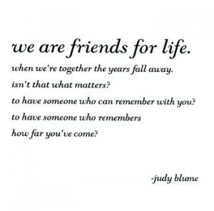 ... judy blume; reminds me of meredith's and christina's friendship