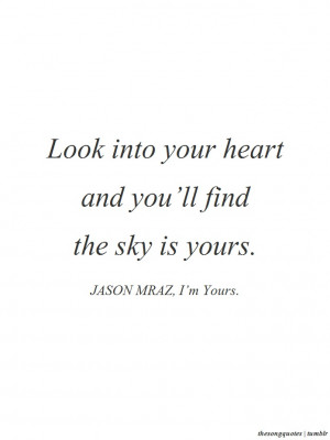 Jason Mraz, I'm Yours.LISTEN TO AUDIO HERE.In the words of Jason ...