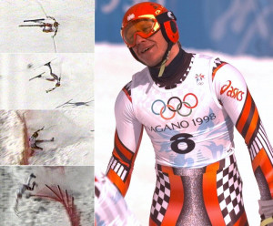 Hermann Maier crashes at the 1998 Winter Olympics in Nagano and wins a