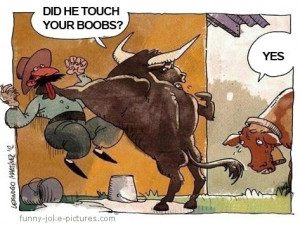Funny Cowby Cow Mill Udders Bull Touch Your Boobs Cartoon