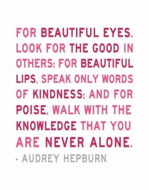 ... Are Never Alone Audrey Hepburn Quote Print 11 x 14 Inspirational Art