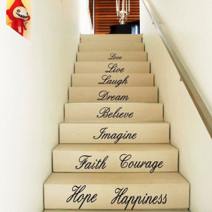 diy removable house stair word art quotes love faith wall stickers ...