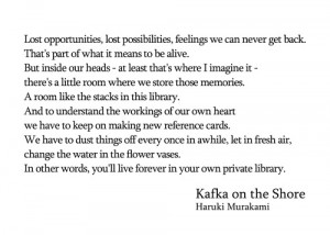 ... Kafka on the Shore #Haruki Murakami #missed-chances #Quotes #Books