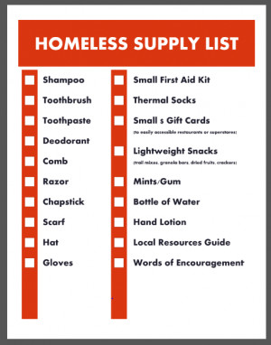 Grab our Free Homeless Supply Checklist for your your care packages ...
