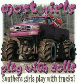 Redneck girls play with trucks