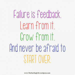 ... well the past 2 weeks or so I (Lori) have been feeling like a failure