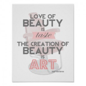 Beauty is Art Retro Quote Stylist Salon Print by TheBeautySaloon
