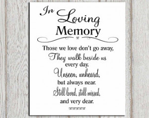 memory printable Memorial table Wedding memorial sign Memorial quotes ...