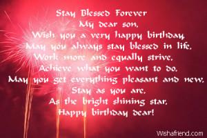 Happy Birthday To My Son Sayings Wish you a very happy birthday