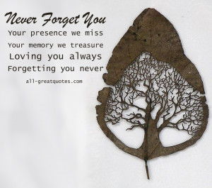 In Loving Memory Cards – Your presence we miss. Your memory we ...