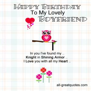 ... Birthday Cards For Boyfriend – Happy Birthday To My Lovely Boyfriend