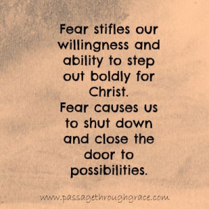 Fear- Great post on facing fear through Christ!