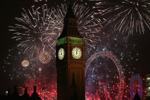 Fireworks light up the London skyline and Big Ben just after midnight ...