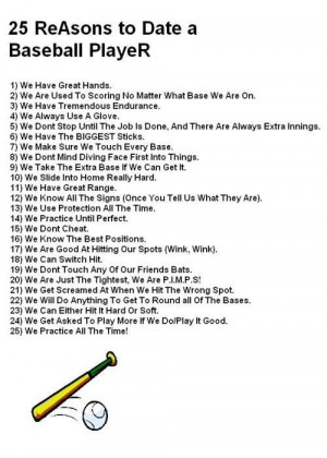 25 Reasons to date a baseball player. Now I know why baseball has ...