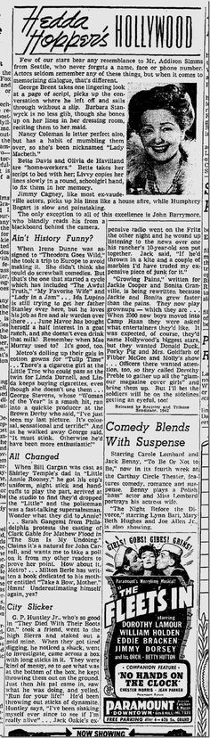 In her column, Hedda Hopper reports that James Cagney learns his lines ...