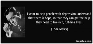 want to help people with depression understand that there is hope ...