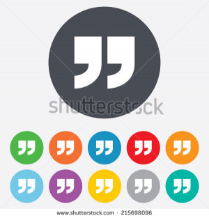 Quote sign icon. Quotation mark symbol. Double quotes at the end of ...