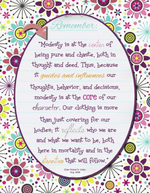 and chaste!Modesty Quotes, Modesty Lessons, Young Women, Modesty Lds ...