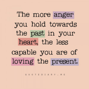 The more anger you hold towards the past in your heart, the less ...