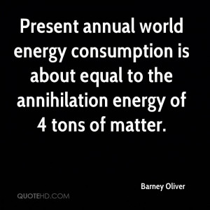Present annual world energy consumption is about equal to the ...