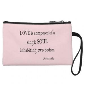 Vintage Aristotle Love Single Soul Pink Quote Wristlet Purses