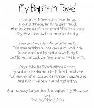 had a great idea and gave Trey a Baptism Book to remember his baptism ...
