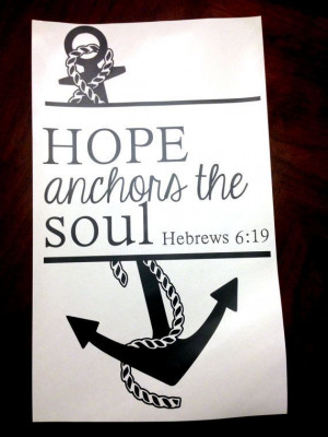 Anchor Wall Vinyl Decal with 'Hope Anchors The Soul' Hebrews 6:19 ...