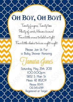 Twin Boy Baby Shower Invitation, Baby Shower invitation, chevron ...
