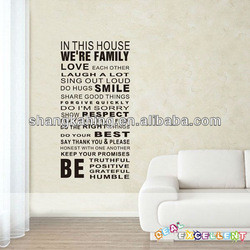 Family Love House Rules Vinyl Letter Spanish Wall Quotes Decals