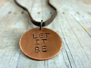 ... Inspirational Quote Copper Disc Metal Stamped Rustic Simplicity Boho